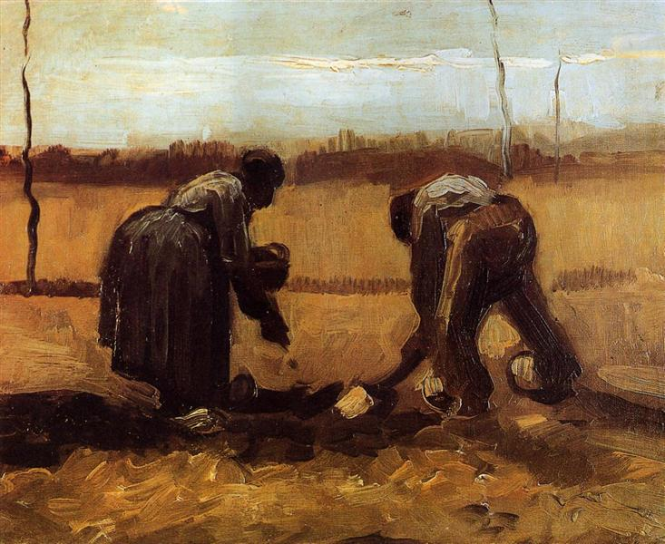 Peasant Man and Woman Planting Potatoes by Vincent van Gogh